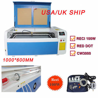 RECI 100W Co2 Laser Engraving&Cutting Machine 100x60cm CW3000 Chiller 80mm Rotar