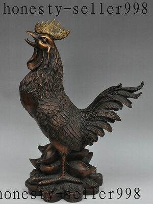 """19""""old chinese bronze wealth yuanbao money zodiac Cock Rooster Chicken statue"""
