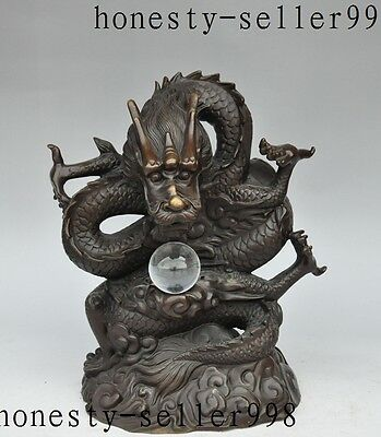 """12""""lucky Chinese fengshui Bronze Wealth zodiac dragon play bead success statue"""