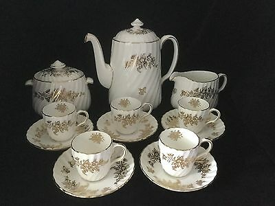 Minton Marlow Coffee Pot Demitasse Set-White & Gold                #1087
