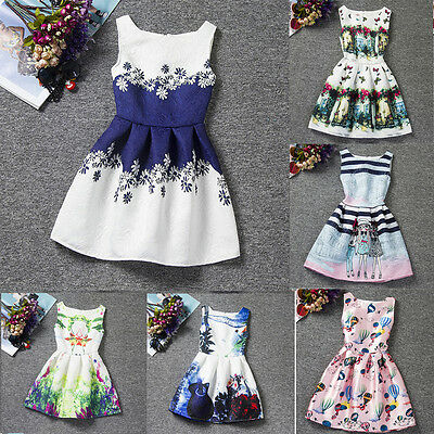 9Kinds Girls Kids Toddler Baby Princess Party Pageant Wedding Sleeveless Dresses