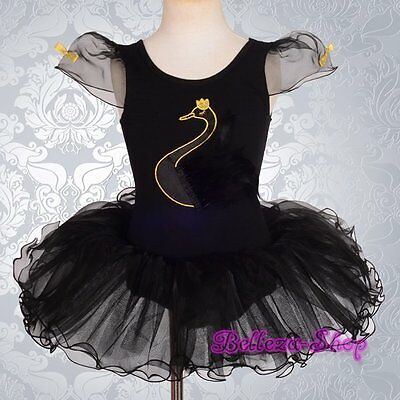 Swan Ballet Tutu Dancewear Costume Fancy Party Dress Girl Size 2T-7 BA045