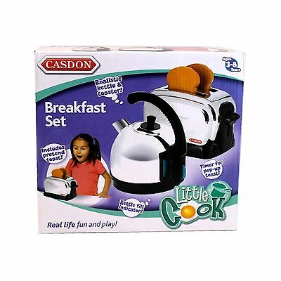 New Casdon Kids Toy Breakfast Set Kettle And Toaster Pretend Play 486