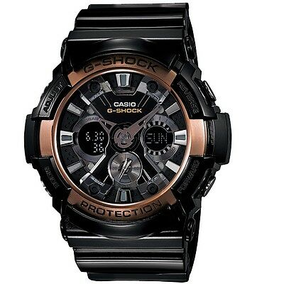 Casio G-Shock GA200RG-1A Black Rose Gold XL Men's Analog Digital Sports Watch