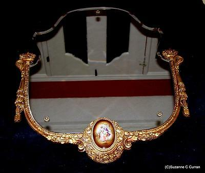 Old Ornate Victorian Revival Carved Gilt Wood Wall Mirror w Porcelain Medallion