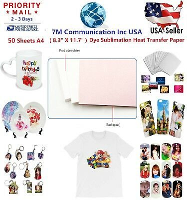 50 Sheets A4 Dye Sublimation Heat Transfer Paper for Mug Cup Plate T- Shirt