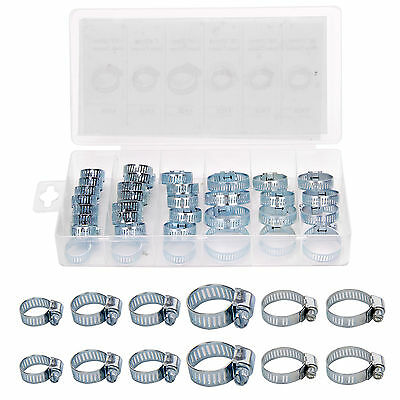 34Pc Assorted Stainless Steel Hose Clamp Set With Driver- Jubilee Clip Style Set