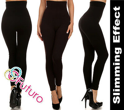 New Black Anti-cellulite Slimming High Waist Control Full Length Leggings FG7248