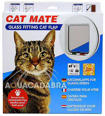 Pet Mate Glass Fitting Cat Flap White Kitten Cat Puppy Small Dog Catflap 210W • EUR 22,69