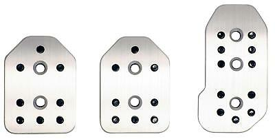 Ripspeed Car Universal 3 Piece Aluminium Anti Slip Foot Pedal Set Silver Finish