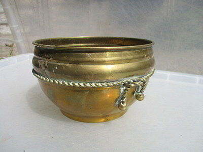 Vintage Brass Trough Tub Planter Plant Pot Ornate Rope Tassels Retro Old Round