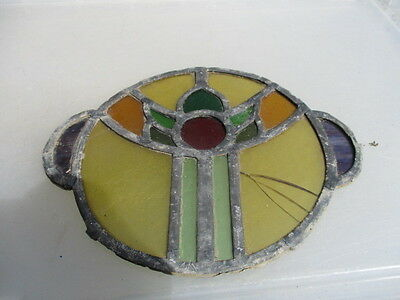 Antique Stained Glass Window Section Offcut Vintage Architectural Salvage CRACKS