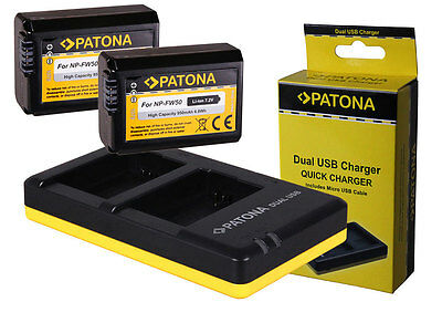 2 x Patona Battery + Double-, Dual-Charger Sony ILCE-6000, Alpha 6000 - NP-FW50
