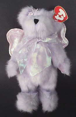 Ty Attic Treasures CASSIA Lavender Angel Bear Iridescent Pink Wings Jointed