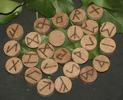 Reclaimed Mahogany Elder Futhark Runes - with Bag & Information - Divination