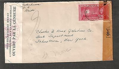 WWII US examiner 5546 & Haiti police generale censor tape cover St Marc to USA