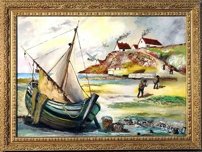 Superb ca.1945 Return of Fishing Boat Seascape Painting Oil/Canvas/Frame Signed