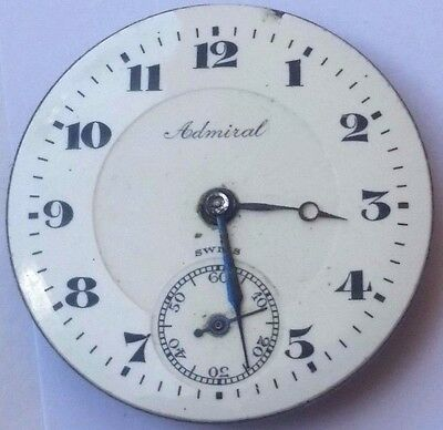 Beguelin Admiral Swiss pocket watch movement 7 jewel 29 mm parts or repair F3438