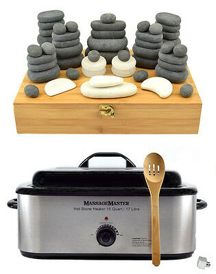 HOT/COLD STONE MASSAGE KIT: 51 Basalt/Marble Stones in Bamboo Box + 18 Qt Heater
