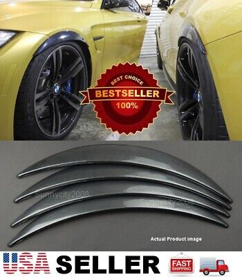 """1.75/"""" Black Carbon Effect Flexible 2 Pieces Wide Arch Fender Flares For Chevy"""