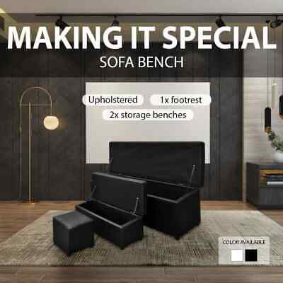 3 pcs Black/White Faux Leather Bench Storage Box Ottoman Seat Footrest Organizer