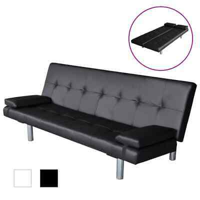 Black/White Leather Sofa Bed 3 Seater Lounge Suite Couch Chaise 2Pillow Recliner