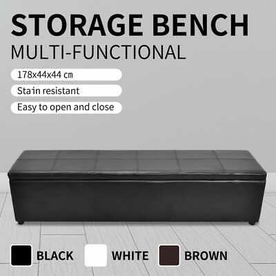 White/Black/Brown Storage Ottoman Bench Seat PU Leather Footrest Organizer 178cm