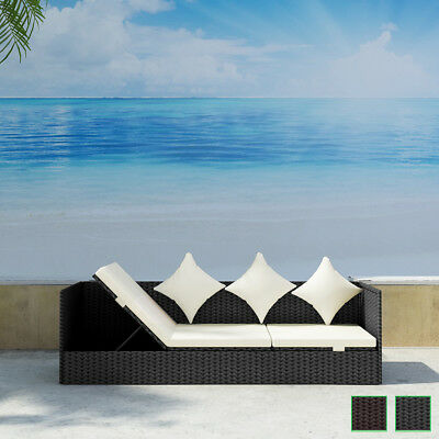 Brown/Black Rattan Sun Bed Wicker Lounger Sofa Chaise Adjustable Daybed Couch