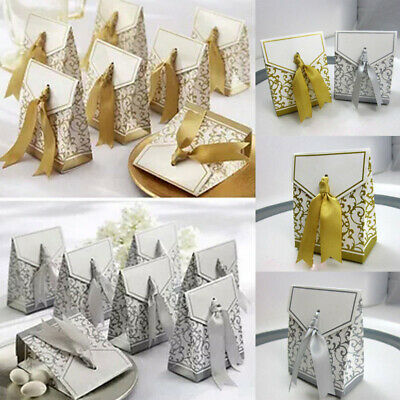 100x Gold Silver Laser Cut Candy Gift Boxes Ribbon Wedding Favor Baby Shower Box