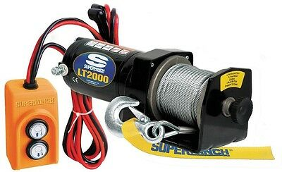 Portable Utility Winch Free-Spooling Clutch Remote Permanent Mount LT2000 12V DC