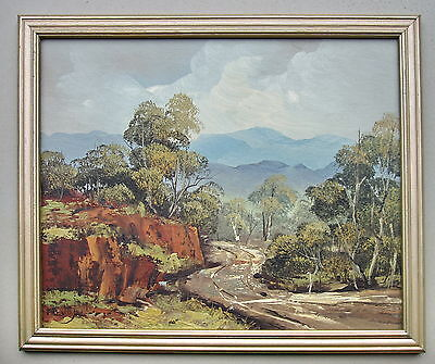 F.Batty  Illedgible Signiture  Mountain Track Framed Oil painting