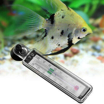 Glass Meter Thermometer Aquarium Fish Tank Water Temperature Gauge Suction Cup