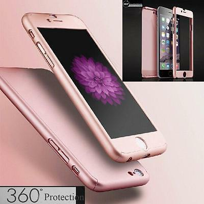 Luxury 360° Hybrid Acrylic Hard Case+Tempered Glass Cover For iPhone 7 & 6S Plus