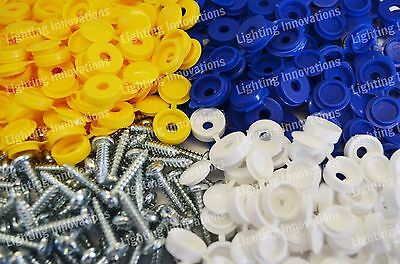 500 x NUMBER PLATE CAR FIXING FITTING KIT HINGE CAPS SCREWS BLUE YELLOW WHITE