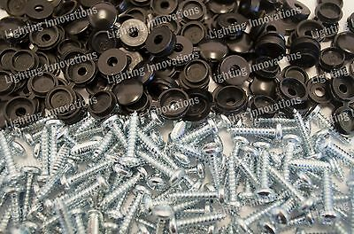 500 x NUMBER PLATE CAR FIXING FITTING KIT HINGE CAPS SCREWS BLACK HINGED CAPS