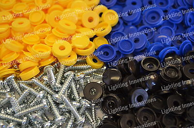 500 x NUMBER PLATE CAR FIXING FITTING KIT HINGE CAPS SCREWS BLUE YELLOW BLACK