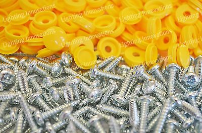 500 x NUMBER PLATE CAR FIXING FITTING KIT HINGE CAPS SCREWS YELLOW HINGED CAPS