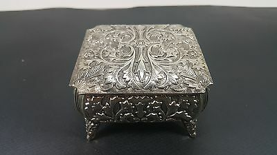 Vintage Metal Footed Ornate Jewelry Trinket Box Made in Japan Red Cloth Interior