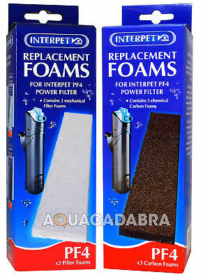 Interpet Pf4 Foam & Carbon Dual Pack Filter Media Pads Aquarium Fish Tank