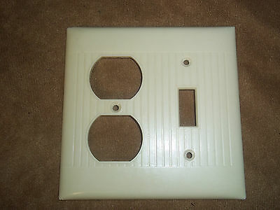Vintage Combo Switch/Outlet Cover Ribbed Ivory Color  USA