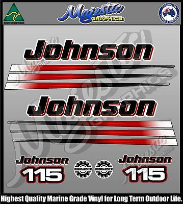 JOHNSON 115hp - BOMBADIER - DECAL SET - OUTBOARD DECALS