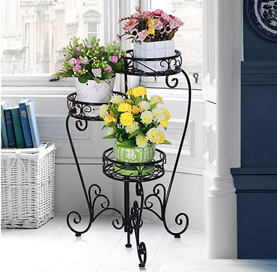Metal Flower Plant Pot Stand 3 Stepped Planter Shelves Wedding Garden Yard Decor