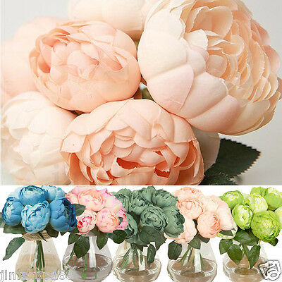Hot 1 Bouquet 6 Heads Artificial Peony Silk Flower Leaf Home Wedding Party Decor