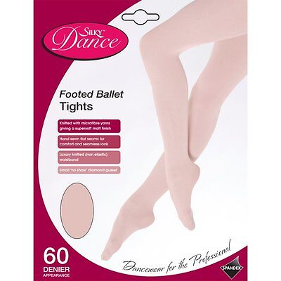 Children's Silky Full Foot Ballet Dance Footed Tights Girls Age 3-13 - in White