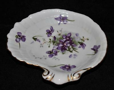 Hammersley Bone China, England, VICTORIAN VIOLETS Handled Shell Shape Dish, 5""