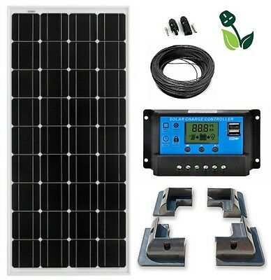 100W Solar Panel Mono 12V LCD Kit with ABS Brackets for Caravans Boats Motorhome