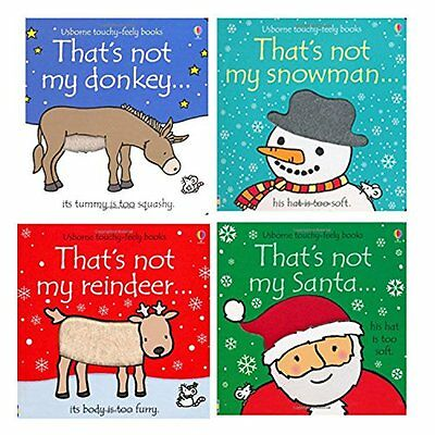 Thats Not My Touchy-Feely 4 Board Books Set Christmas Collection Santa,Snowman..