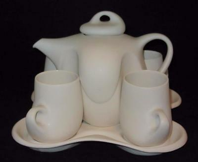 Peter Saenger White Art Pottery Design Set II Coffee Pot w/4 Cups Tray STAR TREK