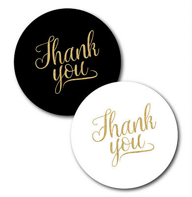 Thank you stickers - white or black with gold glitter effect text 30mm