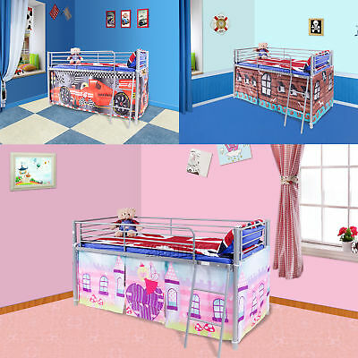 FoxHunter Childrens Metal Mid Sleeper Cabin Bunk Bed Kids Tent Single 3FT New